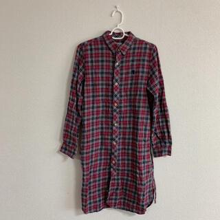 コーエン(coen)のチェックシャツ シャツワンピース coen グレー 赤 レッド お洒落 可愛い(ひざ丈ワンピース)