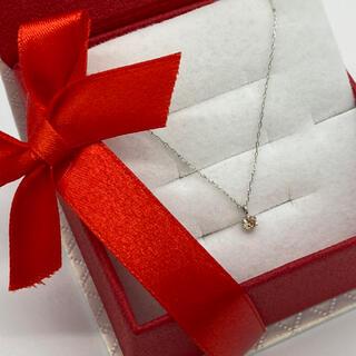ギフトボックスに入れて発送。誕生石プラチナネックレス。4月ダイヤモンド0.1ct(ネックレス)