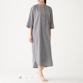 MUJI (無印良品) - 無印良品 インド綿薄手ガーゼ 七分袖クルタ 婦人S・チャコールグレー×チェック
