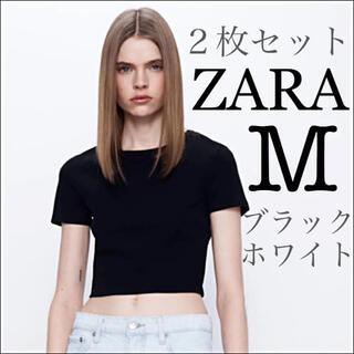 【新品未使用】ZARA クロップド丈Tシャツ コットンT 白+黒 2枚セット M(Tシャツ(半袖/袖なし))