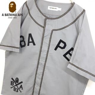 A BATHING APE - A BATHING APE ベースボールシャツ グレー L