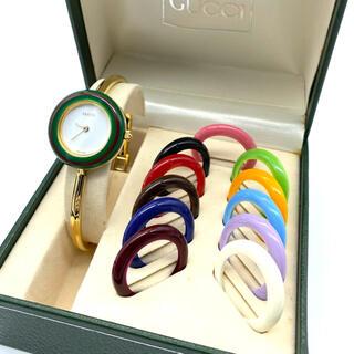 グッチ(Gucci)の極良品☆ GUCCI チェンジベゼル Mサイズ 新品電池 レディース腕時計(腕時計)