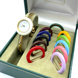 グッチ(Gucci)の良品☆ 新品電池 GUCCI  Mサイズ チェンジベゼル レディース腕時計(腕時計)