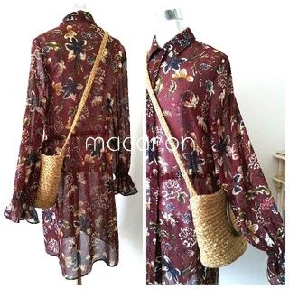ZARA - お取置き未使用ザラZARA花柄ロングシャツ羽織りシャツワンピース バナリパKBF