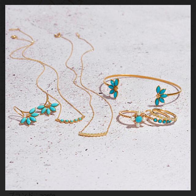 agete(アガット)のアガット 花モチーフYGターコイズ&ダイヤバングル レディースのアクセサリー(ブレスレット/バングル)の商品写真