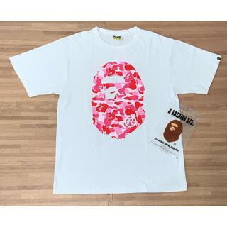 A BATHING APE - ★美品★ APE 前後 大猿 Tシャツ ピンク カモ XL シャーク