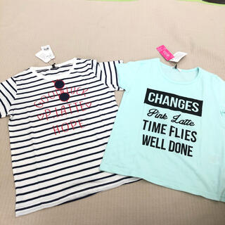 ピンクラテ(PINK-latte)のピンクラテ 150cm  女の子半袖Tシャツ 二枚セット 新品(Tシャツ/カットソー)