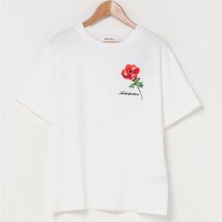 MUVEIL WORK - MUVEIL/アネモネ刺繍Tシャツ レッド