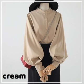 ⭐️売れ筋⭐️クリーム ブラウス ハンドカラー バルーン袖 長袖 とろみシャツ