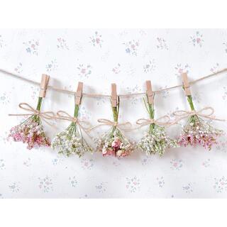 パステルピンクのバラとかすみ草のドライフラワーガーランド♡スワッグ♡ミニブーケ