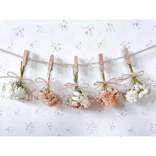 淡い3種のバラのオレンジホワイトドライフラワーガーランド♡スワッグ♡ミニブーケ(ドライフラワー)