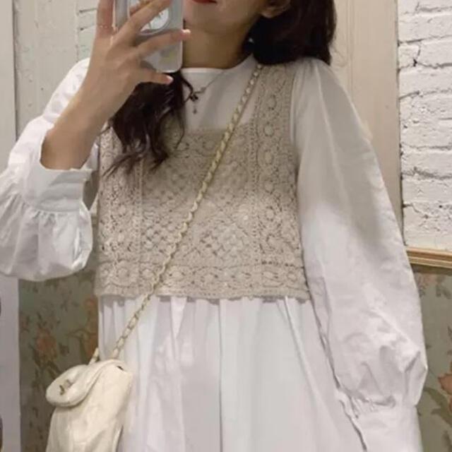 韓国ファッション 花柄刺繍 ビスチェ ベスト + シャツワンピース set商品 レディースのレディース その他(セット/コーデ)の商品写真