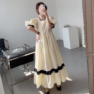 ZARA - 配色ライン ぽわん袖 パフスリーブ ワンピース