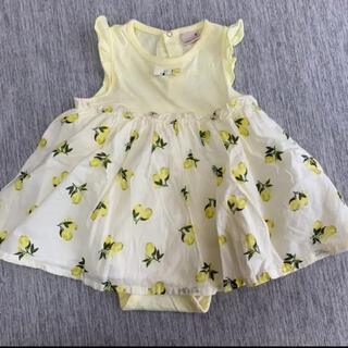 petit main - プティマイン レモン柄 ロンパースワンピ