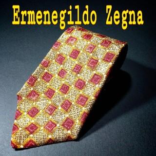 エルメネジルドゼニア(Ermenegildo Zegna)の【美品】Ermenegildo Zegna 総柄 ネクタイ マスタードイエロー(ネクタイ)