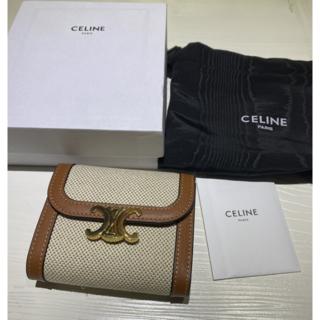 celine - セリーヌCELINEトリオンフ スモールフラップウォレット折りたたみ財布タン