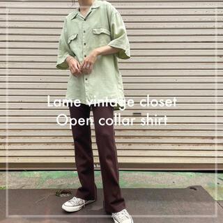 Santa Monica - 90s 古着 オープンカラーシャツ 半袖 リネンシャツ ビンテージ