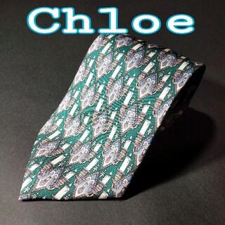クロエ(Chloe)の【極美品】 Chloe 総柄 ネクタイ  グリーン(ネクタイ)