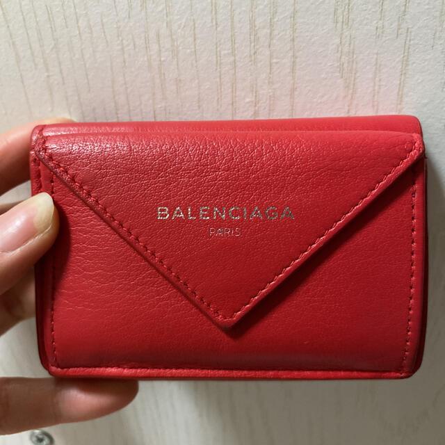 Balenciaga(バレンシアガ)のバレンシアガ ペーパーミニウォレット レッド レディースのファッション小物(財布)の商品写真