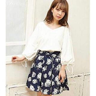 イング(INGNI)の花柄フレアスカート(紺色)(ミニスカート)