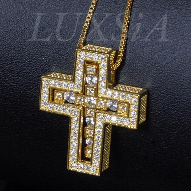 ダブル クロスネックレス 十字架 ゴールド 925 メンズ レディース  メンズのアクセサリー(ネックレス)の商品写真