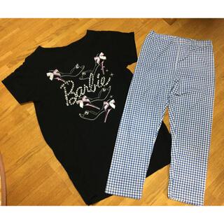 UNIQLO - UNIQLO✖️Barbie  黒Tシャツ&水色ギンガムチェックレギンス