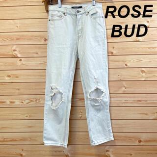 ローズバッド(ROSE BUD)のROSE BUD ローズバッド デニム ジーンズ くすみホワイト 白 ダメージ(デニム/ジーンズ)