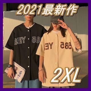 ユニセックス 5分袖Tシャツ ベースボール 2XL  カーキ