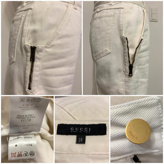 Gucci(グッチ)のGUCCI⭐️グッチ 定価約8万円 ホワイトデニムスカート 38 レディースのスカート(ひざ丈スカート)の商品写真
