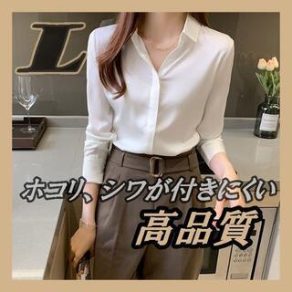 レディース ビジネスシルクシャツ 長袖 肌に優しい ホワイト L