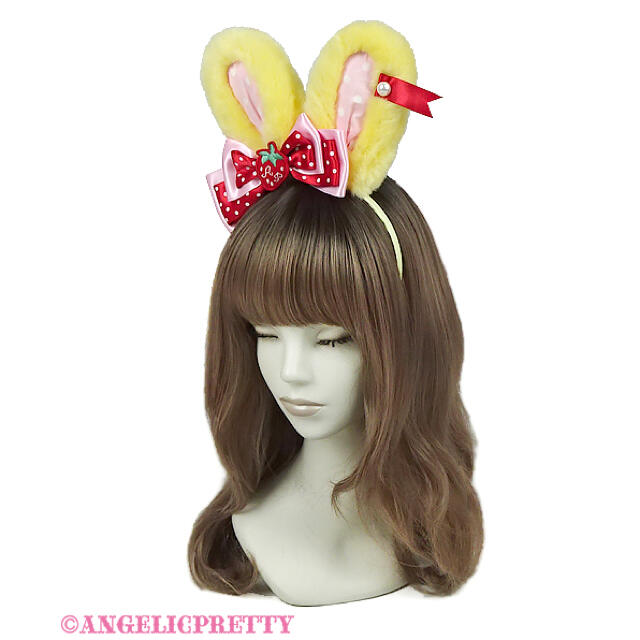 Angelic Pretty(アンジェリックプリティー)のLittle Strawberryリリカルバニーカチューシャ レディースのヘアアクセサリー(カチューシャ)の商品写真