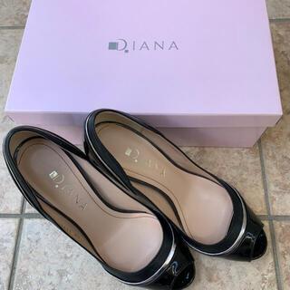 DIANA - DIANA ダイアナ 黒 パンプス エナメル 皮 ゴールド 24センチ