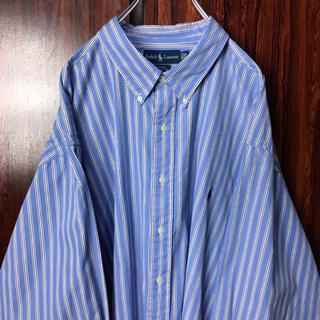 Ralph Lauren - ラルフローレン 刺繍ロゴ BDシャツ ストライプ 3X 水色 ビッグシルエット