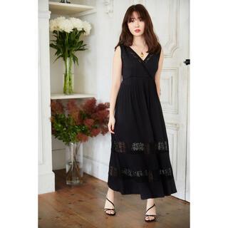 Lace-trimmed Jersey Long Dress black S