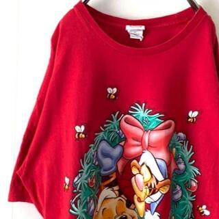 ディズニー(Disney)のDisney ディズニー プーさんティガー Tシャツ レッド 赤 古着(Tシャツ/カットソー(半袖/袖なし))