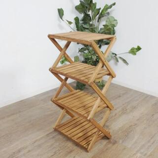 送料無料【新品】コンパクトに折りたたむことができる木製ラック(テーブル/チェア)