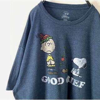 ピーナッツ(PEANUTS)のPEANUTS スヌーピー Tシャツ 2XL くすみブルー青 古着(Tシャツ/カットソー(半袖/袖なし))