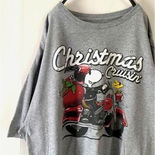 ピーナッツ(PEANUTS)のPEANUTS スヌーピー クリスマス Tシャツ XL グレー 灰色 古着(Tシャツ/カットソー(半袖/袖なし))