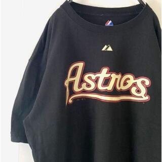 Majestic Astrosアストロズ Tシャツ XL  ブラック 黒 古着
