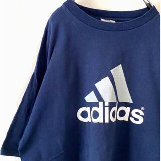 アディダス(adidas)のアディダス デカロゴ Tシャツ L ネイビー 紺 古着(Tシャツ/カットソー(半袖/袖なし))