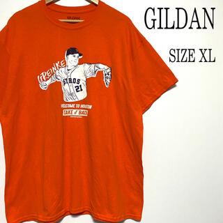 ギルタン(GILDAN)のUS古着 GILDAN ギルダン プリント Tシャツ オレンジ XL(Tシャツ/カットソー(半袖/袖なし))