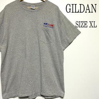 ギルタン(GILDAN)のUS古着 GILDAN ギルダン プリント ポケット Tシャツ グレー XL(Tシャツ/カットソー(半袖/袖なし))