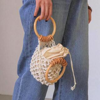 Kastane - 新品 ネット 編み 巾着 ミニバッグ