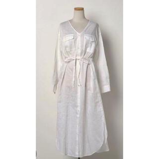 STRAWBERRY-FIELDS - 美品 ストロベリーフィールズ シャツ ワンピース ロング ホワイト 白 リネン