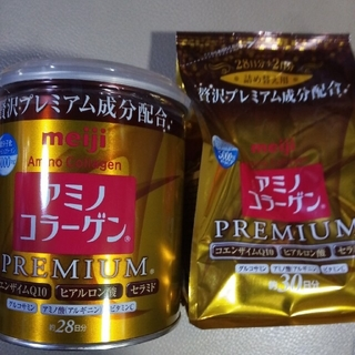 明治 - 明治アミノコラーゲンプレミアム缶200g、214gです。