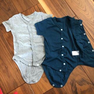 ニシマツヤ(西松屋)の美品カバーオールロンパース半袖無地506070新生児2枚セット(カバーオール)