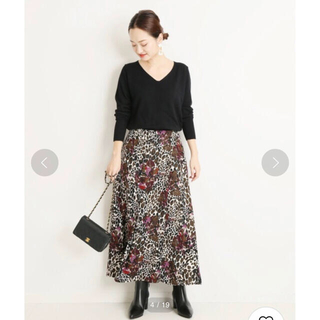 IENA - ヴェルメイユ パー イエナ フラワーレオパード スカート 極美品アニマルプリント