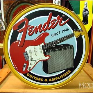 アメリカンブリキ看板 フェンダー ギターとアンプ(パネル)