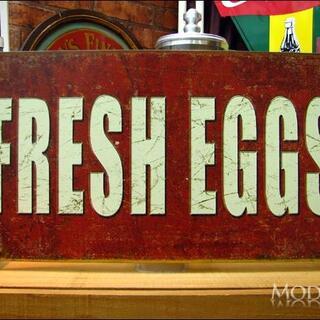 アメリカンブリキ看板 Fresh Eggs 新鮮な卵(パネル)