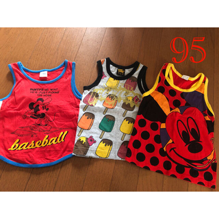 ディズニー(Disney)の子供服 タンクトップ サイズ95 3点セット (Tシャツ/カットソー)